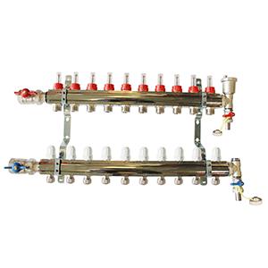 Underfloor heating 10 port manifold