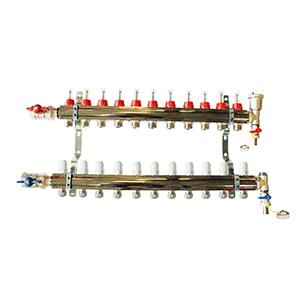 Underfloor heating 11 port manifold