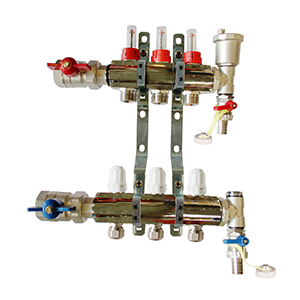 Underfloor heating 3 port manifold