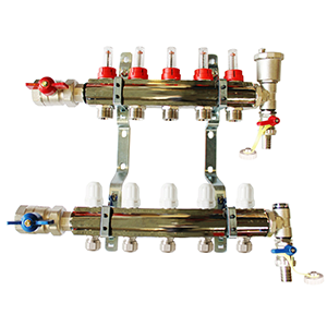 Underfloor heating 5 port manifold