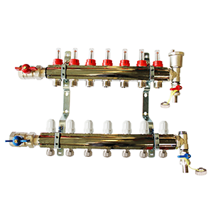 Underfloor heating 7 port manifold