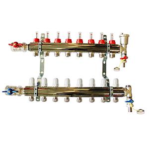 Underfloor heating 8 port manifold