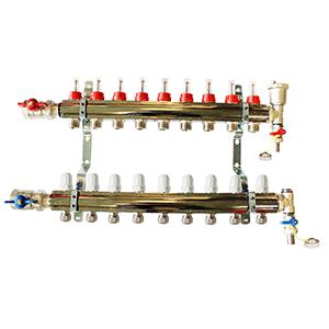Underfloor heating 9 port manifold